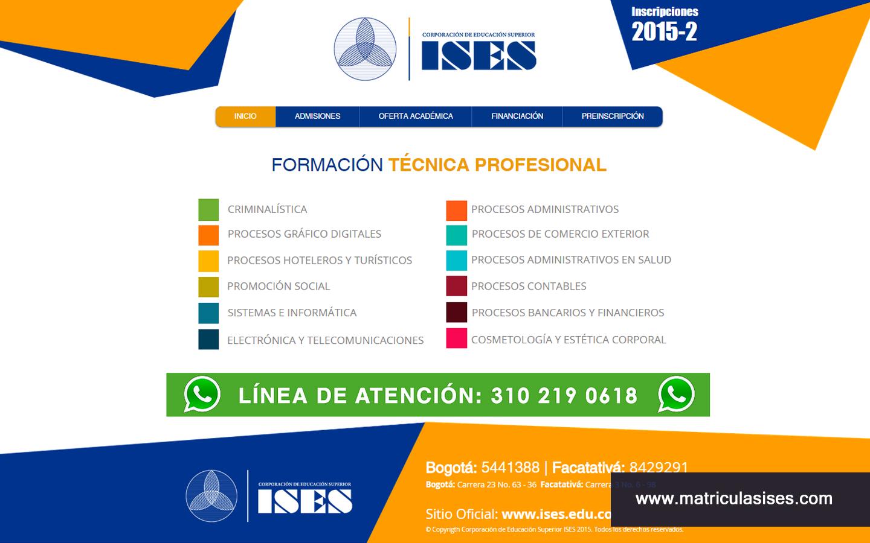 Landing page para mercadeo de la Corporación ISES.